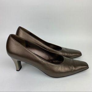 SALVATORE FERRAGAMO Bronze Metallic Low Heels